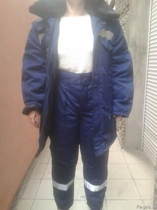 Зимний рабочий костюм с брюками , утепленная рабочая спецодежда
