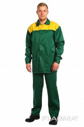 Костюм рабочий зеленый с лимонной кокеткой (куртка брюки)