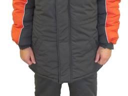Брюки утепленные Мастер, серые с оранжевым