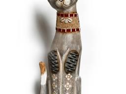 Кот деревянный светло серый 100 см.