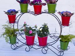 """Кованая подставка для цветов """"Сердце 11"""""""