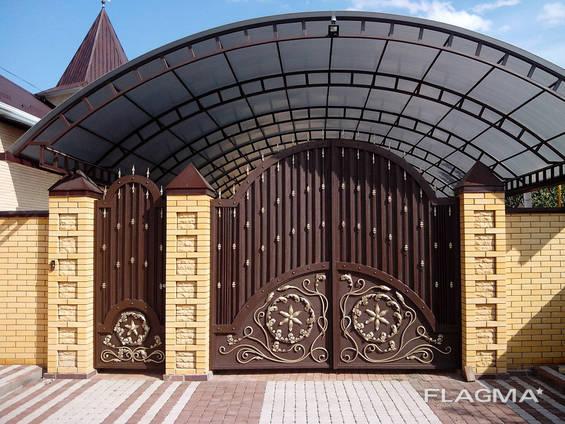 Ковані ворота, дашки, автонавіси. Металеві вироби на замовлення Буча, Ірпінь, Озера