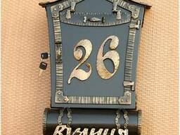 Кованый комплект название улицы и почтовый ящик с трубой для