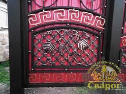 Кованые ворота с калиткой Виноградная лоза