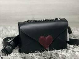 Кожаная женская сумка-клатч Leya с черного цвета с. ..