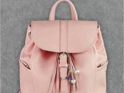 Кожаный женский рюкзак розовая пудра Олсен. ..