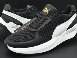 Кожаные кроссовки Puma арт -166 черный сетка кожа