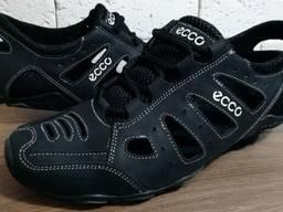 Кожаные летние кроссовки арт- D-011 чёрные