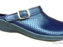 Кожаные женские синие сабо 51-07-01