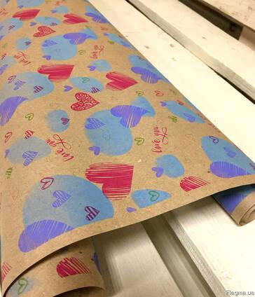 """Крафт бумага """"LOVE YOU"""", 70 см. 10 метров. 70 грам/м2."""