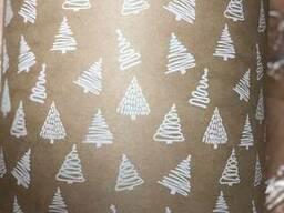 Крафт бумага с рисунком в рулонах новогодняя
