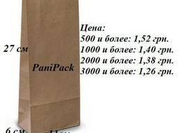 Крафт пакеты без ручки с логотипом и без