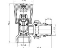 """Кран радиаторный угловой SD Forte Classiс с антипротечкой 1/2"""" SF228W15"""