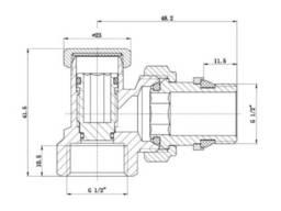"""Кран радиаторный угловой SD Forte Classiс с антипротечкой 1/2"""" без ручки SF229W15"""