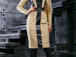 Красивое женское платье с эко-кожей (44-50р) , доставка по. ..