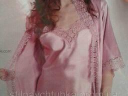 Красивый комплект пенюар и халат с ажуром 48-50 Турция