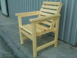 Кресла из натурального дерева. Одинарное и парное со столом. - фото 1