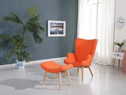 Кресло SDM Флорино с табуреткой (пуфом) Оранжевый
