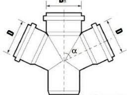 Крестовина одноплоскостная для внутренней канализации.
