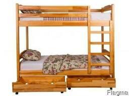 Кровать двухъярусная из натурального дерева 1900×800
