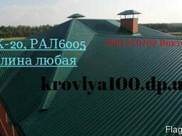 Кровельный профнастил. ПК-20. вишневый коричневый зеленый