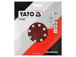 Круг шліфувальний з наждачного паперу з липучкою YATO 180 мм Р100 до YT-82341 3 шт