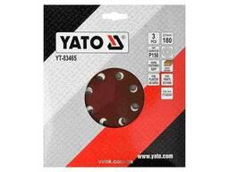 Круг шліфувальний з наждачного паперу з липучкою YATO 180 мм Р150 до YT-82341 3 шт
