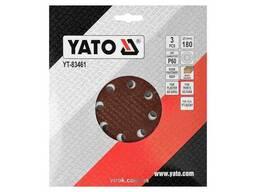 Круг шліфувальний з наждачного паперу з липучкою YATO 180 мм Р60 до YT-82341 3 шт