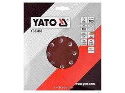 Круг шліфувальний з наждачного паперу з липучкою YATO 180 мм Р80 до YT-82341 3 шт