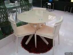 Круглый стеклянный стол B810 крем для кухни дома, кафе, бара