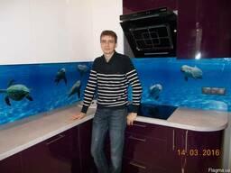 """Кухонный фартук (Скинали) с фотопечатью """"Дельфины"""""""
