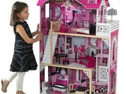 Кукольный деревянный домик «Вилла Барселона» + лифт + кукла, 3 этажа с мебелью и. ..