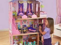 Кукольный деревянный домик «Вилла Магнолия» + лифт + кукла, 3 этажа с мебелью и. ..