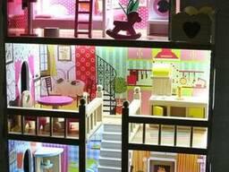 Кукольный деревянный домик «Вилла Валетта» + подсветка + 2 куклы, 3 этажа с мебелью и. ..