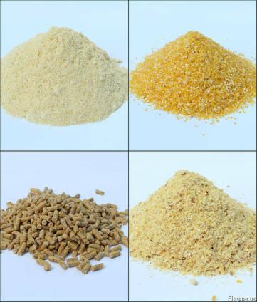 Кукурузная крупа №5, высевки кукурузные, мука, зародыш