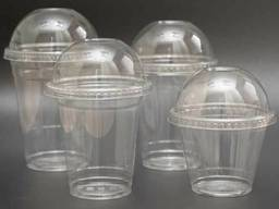 Купольный стакан 300 400 500мл одноразовый с крышкой для смузи ягод пинетки