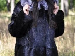 Куртка из нутрии полупоперечка с опушкой из чернобурки