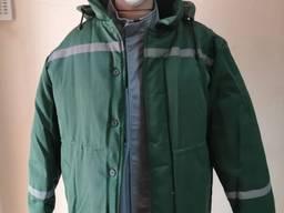 Куртка рабочая утепленная на синтепоне грета зеленая с СВП