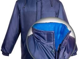 Синяя зимняя куртка на флисе