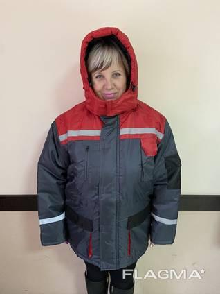 Куртка рабочая утепленная ткань Оксфорд с красными вставками