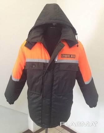 Куртка рабочая зимняя черный цвет с оранжевой кокеткой пошив спецодежды