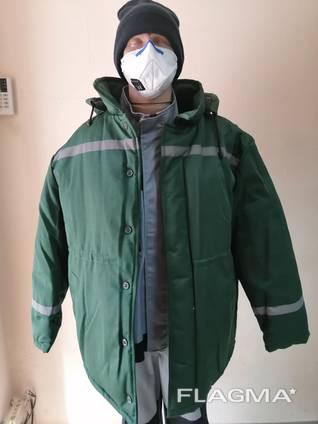 Куртка рабочая утепленная на синтепоне грета зеленая