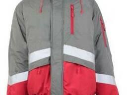 """Куртка утепленная сигнальная, серо\красного цвета """"Волк 2"""""""