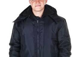 Куртка пилот с капюшоном, воротник стойка, черная