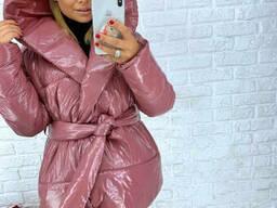 Куртка женская пуховик лаковая модель LAK синтепон р. 50 (L+) розовый
