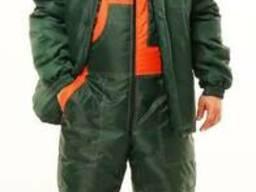 Куртка зимняя (оксфорд, зеленый с оранж вставками)