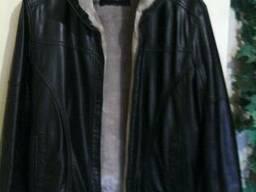 Куртка зимняя, стильная, кож.зам с теплой меховой подкладкой