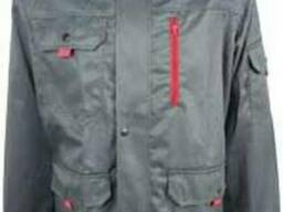 Серая рабочая куртка с красными вставками