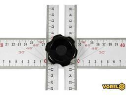 Кутник алюмінієвий регулювальний Vorel 1200 х 320 мм з розмітками кутів 30-75°