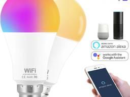 Лампа 15W Е27 RGB LED светодиодная мульти цветная Smart с управлением со смартфона по WiFi